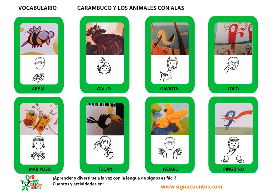 Vocabulario animales con alas