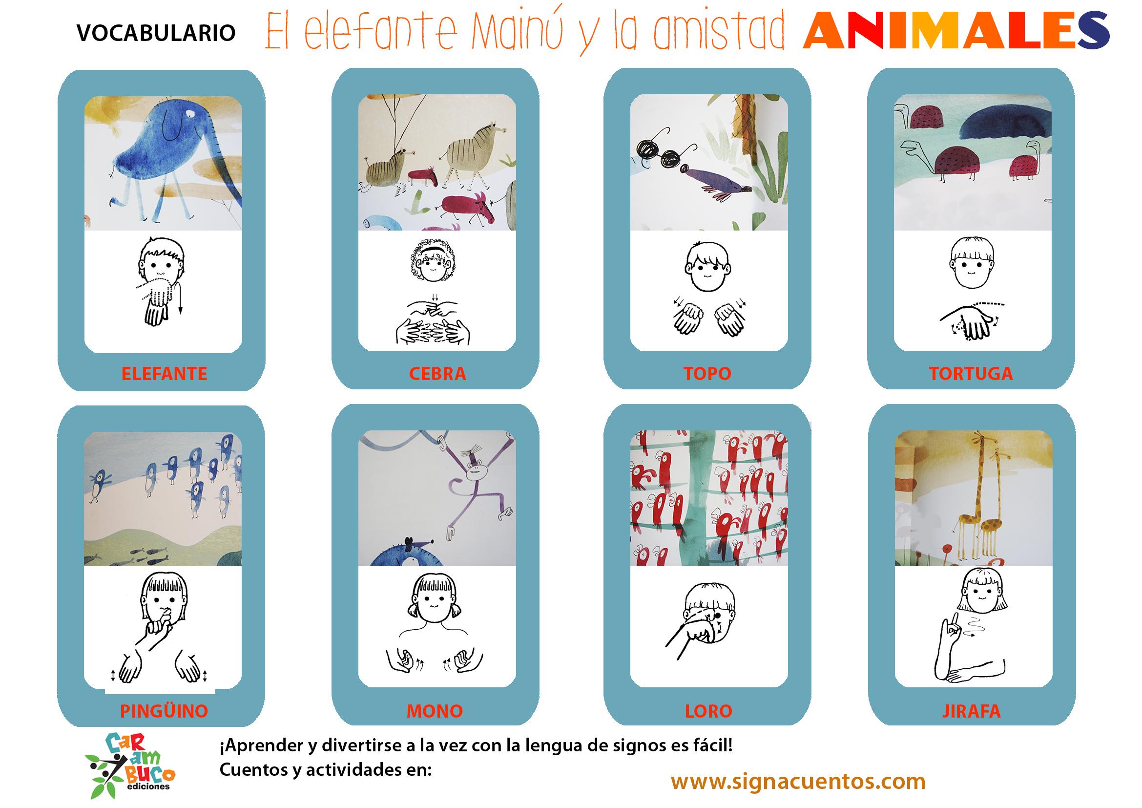 Vocabulario animales en lengua de signos española