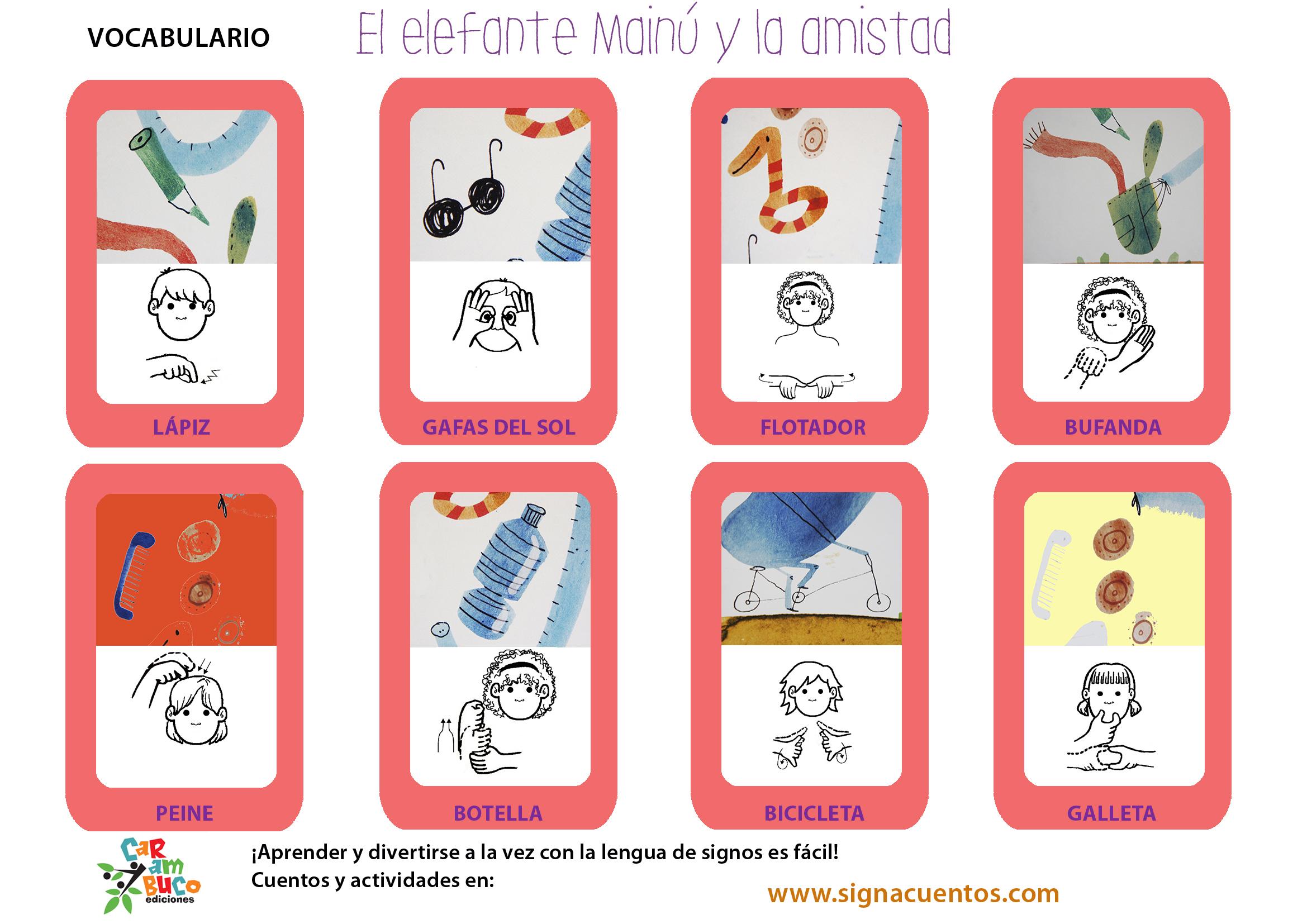 Vocabulario cosas en lengua de signos española